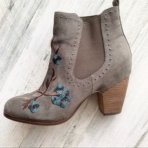 Crown Vintage Shoes - Crown Vintage Embroidered Ankle Booties 8.5